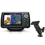 Humminbird HELIX 5 G2 Chirp Sonar-GPS Combo 410210-1 with RAM Mounts Surface Mount For Humminbird Helix 5
